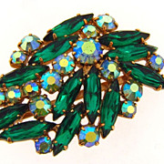 Lovely rhinestone brooch in shades of green from the 1960's