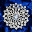 Larger fabulous dish or deep set crystal rhinestone Rhodium plated brooch
