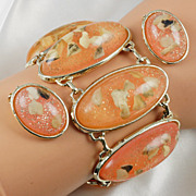 Wonderful lattice style wide bracelet & ear clips shell fragments soft peach gold tone