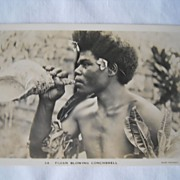 Exotic Postcard of Fijian Blowing Conchshell -WWII Era