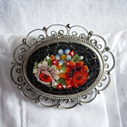 Micro Mosaic Pin -Colorful Flowers- Vintage