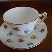 Cup and Saucer Covered with Flowers - Crown Staffordshire - Floral Bouquet (Smooth)