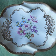 Vintage Floral Porcelain Pin Tray or Catch All or Ashtray