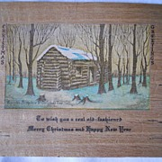 Wooden Christmas Card Unused - 1940's