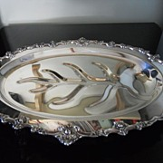 REDUCED Ornate Silverplate Medium Footed Meat Platter