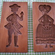 REDUCED Vintage Wooden Cookie or Butter Presses - Set of 2 - Man and Woman