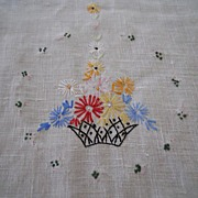 Vintage Hand Embroidered Linen Dresser Scarf or Table Runner