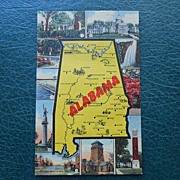 Vintage Unused Alabama Postcard - 1940's