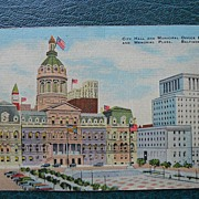 Linen Finish Postcard of City Hall Baltimore, Maryland - Unused