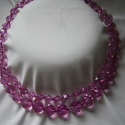 REDUCED Vintage Sparkly Mauve/ Pink Lucite Necklace