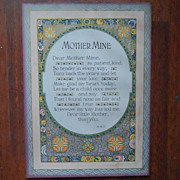 SOLD Motto Print Mother Mine Poem