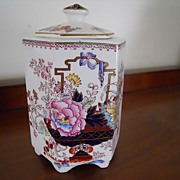 REDUCED Mason's Ironstone Tea Caddy with Cover -Brocade Pattern - Asian Inspired