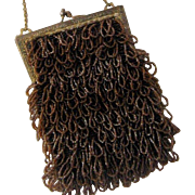 ca 1920 Swag or Shaggy Caramel Brown Beaded Bag Purse