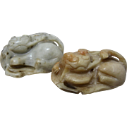 19th Century Carved Jade Cat  w/ Butterfly