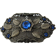 Ca 1930 Czech Filigree Pin Blue Floral Design
