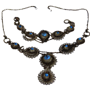 1930s Filigree Necklace & Bracelet Silver Plated Blue Glass