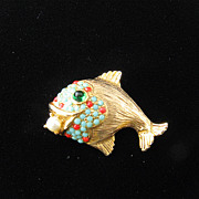 Whimsical Hattie Carnegie Fish W/ Pearl  Pin Brooch
