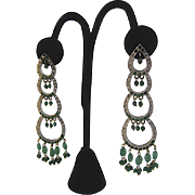 Spectacular Long Vintage India Kundan Bridal Jewelry Earrings