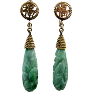Mid 1900s 14K Carved Apple Jade Dangle Earrings Screwback