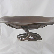 Large Japanese Bronze Ikebana Bowl Lotus w/ Frog Signed Mid 1900s
