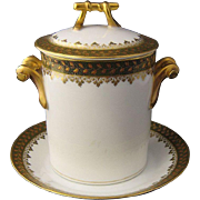 Ca 1900 Haviland Limoges Porcelain Can or Jar Holder w/ Underplate