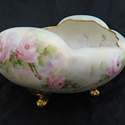 Ca 1900 T&V Limoges Hand Painted & Gilded Footed Bowl Roses
