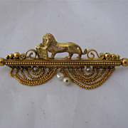 Victorian 14K Lion w/ Book Pin St Mark of Venice