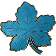 MEKA Denmark Sterling Blue Enamel Maple Leaf Pin