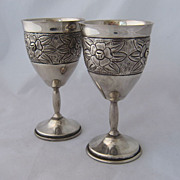 Pair 1950s Mexican Silver Goblets Repousse Roses Marked R.J.