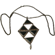Modernist Studio Artist Necklace Sterling Jade Triangles Nickel Chain