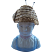 1930s German Porcelain Pin Cushion Boy w/ Straw Hat