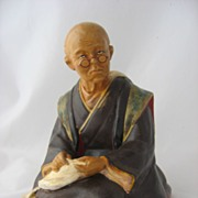 Old Japanese Satsuma Earthenware Figure Shoemaker Hand Painted