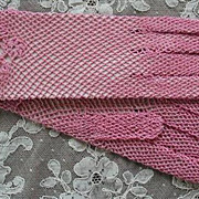 Pink Vintage Crocheted Lace Gloves Never Worn