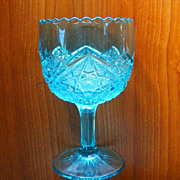 Aqua Turquoise Pressed Glass Oversized Goblet