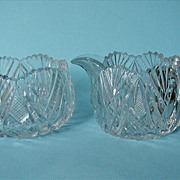 Cut Glass Crystal Creamer Pitcher and Sugar Bowl