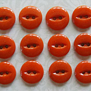 Antique Orange Glass China Buttons Set 12 Unused