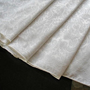 Round Ivory Damask Weave Tablecloth