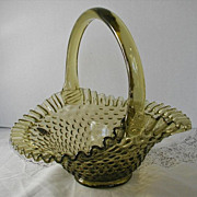 Fenton Olive Green Glass Hobnail Ruffled Basket Label