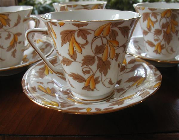 6 1920s Royal Grafton Bone China Cups Saucers Autumn Colors
