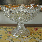 Huge EAPG Pressed Glass Pedestal Compote Antique Holiday