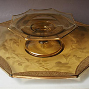 Tiffin Amber Gold Encrusted Rambler Rose Glass 2 Piece Serving Plate Set
