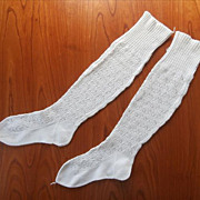 French Knitted Lace Stockings Antique Unused