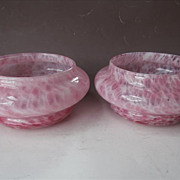 Pink Murano Art Glass Pair Bowls Use For Pillar Candles