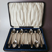 Coffee Spoons Sugar Tongs Set Original Box Vintage