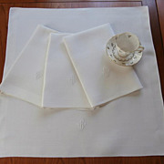 Monogram B Damask Napkins 4 Art Deco Linen Vintage