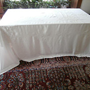 French Linen Tablecloth Big Hand Embroidered Bows Flowers