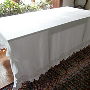 French Tablecloth Antique Damask Crocheted Lace