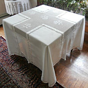 Tablecloth Square Crocheted Lace Drawn Work Monogram Antique
