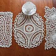 3 Unusual Tape Lace Doilies Centerpieces Vintage c1920 Arts Crafts Era