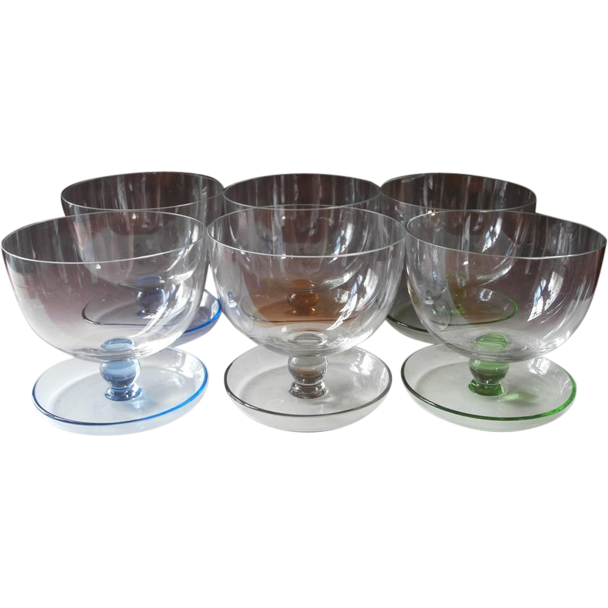 shrimp cocktail finger bowl glasses vintage colored bases. Black Bedroom Furniture Sets. Home Design Ideas